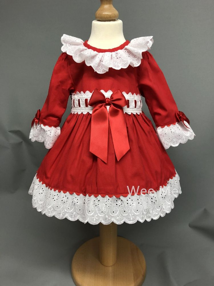 Beautiful Baby Girl Red Spanish Long Sleeve Dress Perfect Christmas Outfit